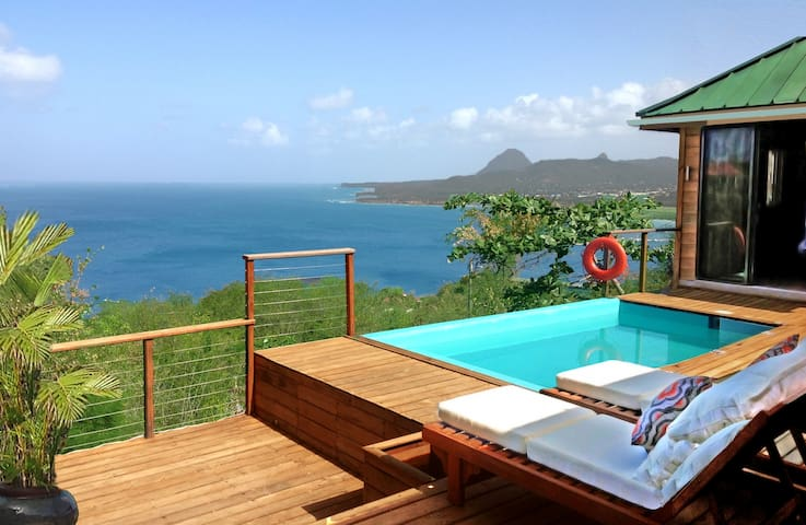From the deck, views out to the Caribbean Sea and the UNESCO World Heritage Pitons