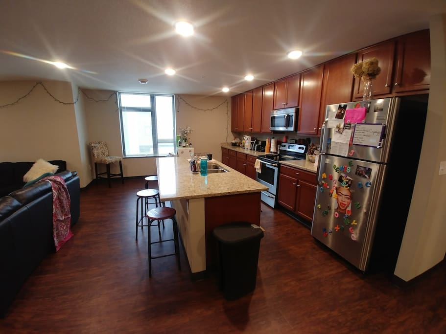 Open-concept kitchen/living areas