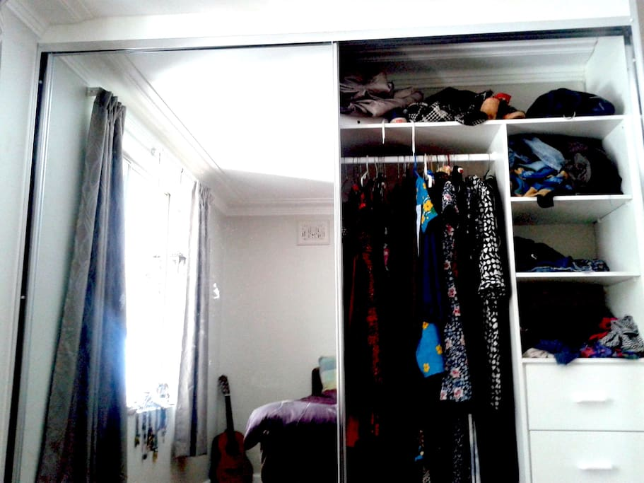 Double wardrobe space in the bedroom