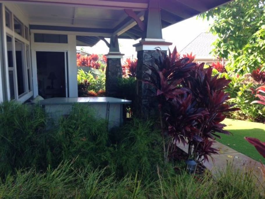 A tropical paradise with exotic plants shading your covered lanai (patio)