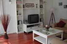 Salon avec télévision, bibliothèque,lecteur DVD et radio.