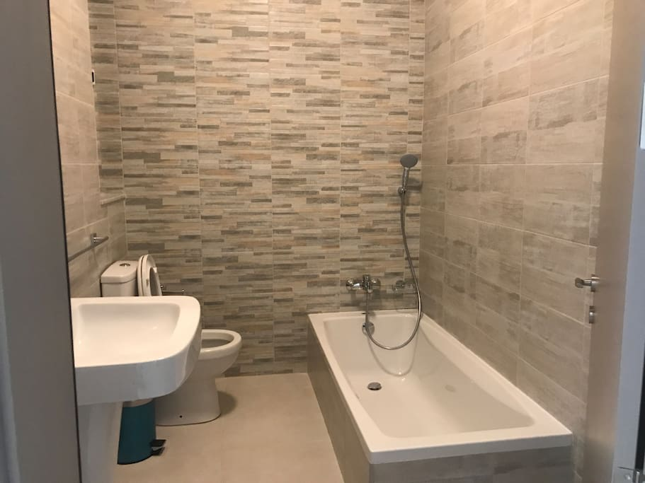 Some apartments have bath tub or shower