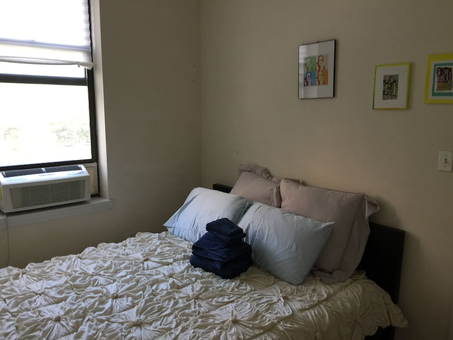 You have a brand new AC, view of the park, tons of natural light and brand new bedding!