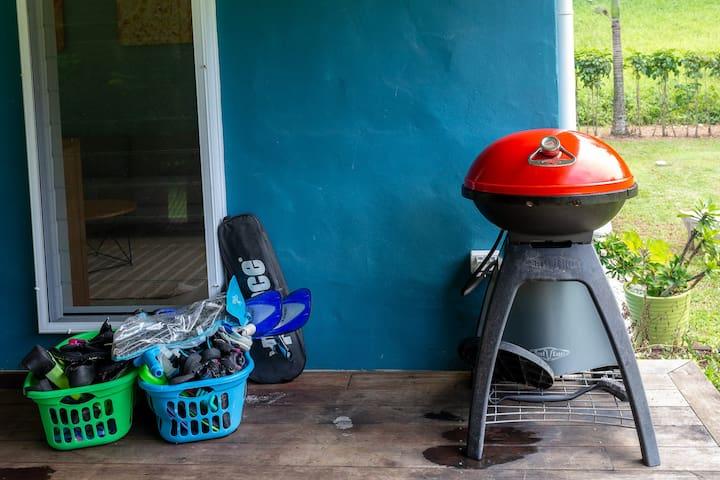 Snorkel gear and BBQ