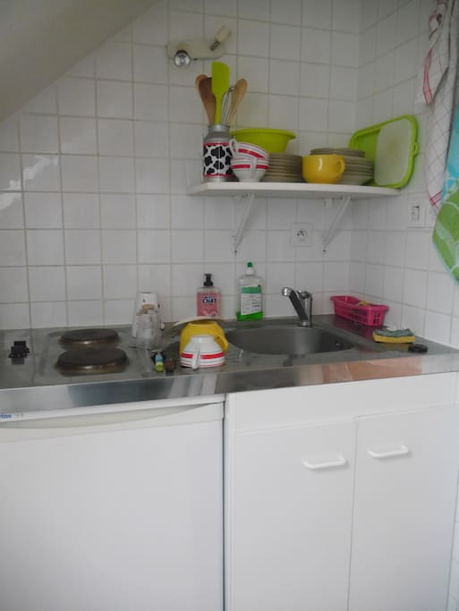 cuisine équipée, vaisselle, frigo, plaques chauffantes, bouilloire et four à disposition.