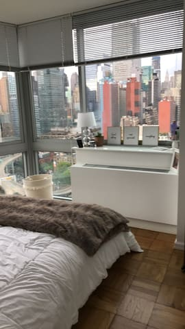 Beautiful, clean bedroom with breathtaking views