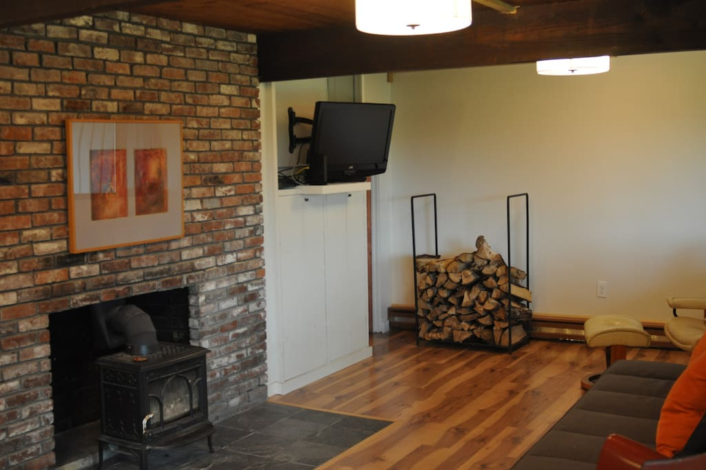 Living Room with Television and Wood Stove