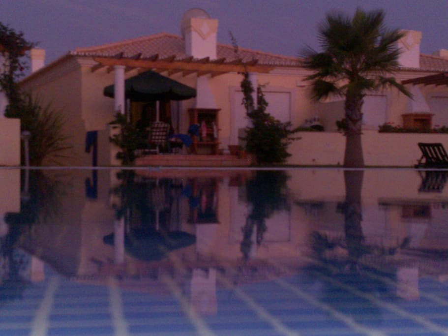 evening view from the pool