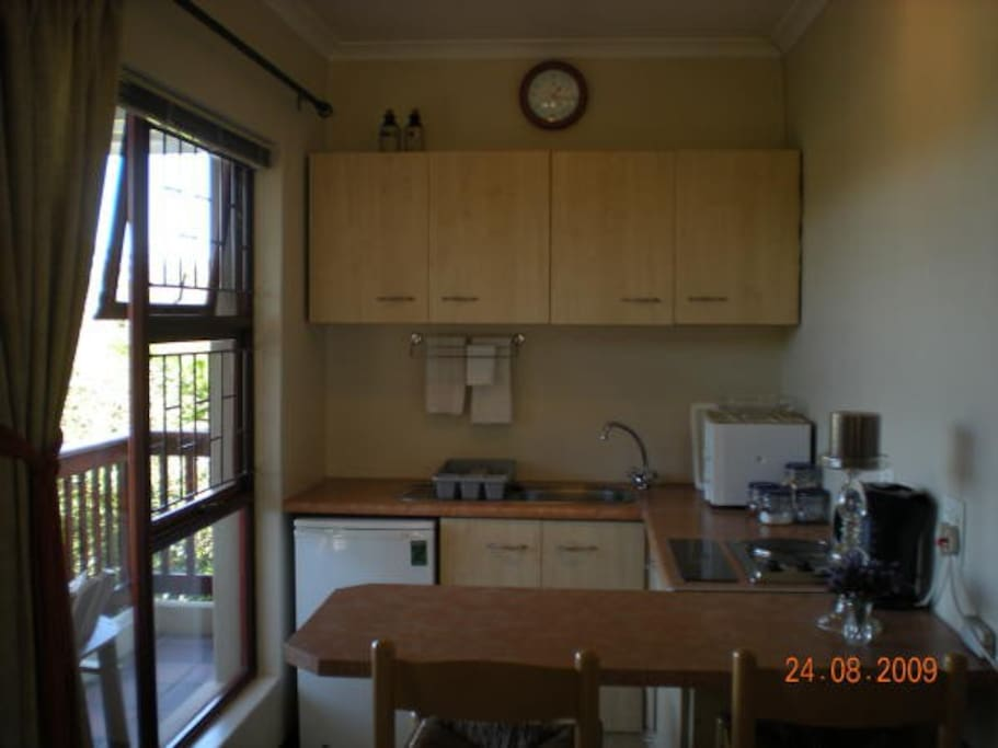 Fully equipped self-catering kitchen.