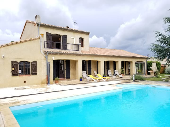 Grande villa+piscine - Canal du Midi-Somail à 1km