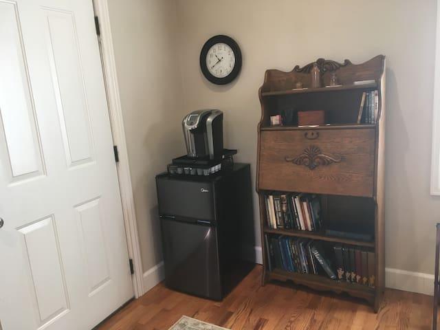 coffee maker and refrigerator