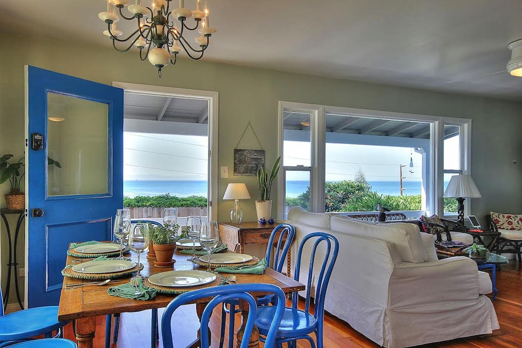 The dining and main living area boast spectacular ocean views.