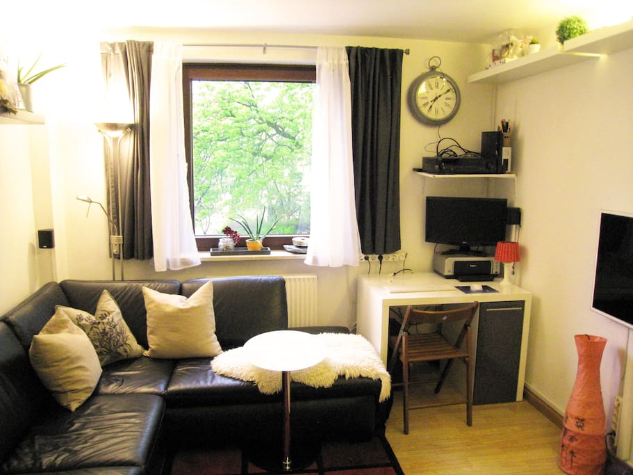 Wohnzimmer mit Ledercouch zum Ausziehen