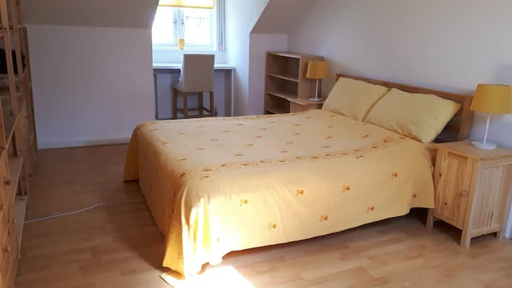 King size bed in Retro Home close to the centre !