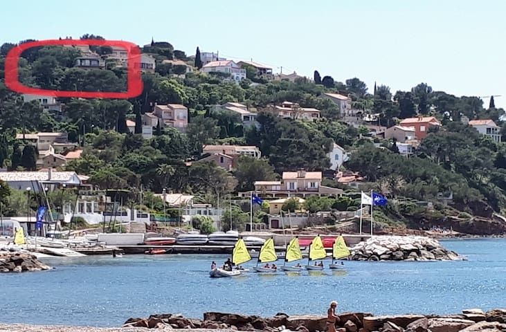 Notre Villa vue de la plage de la Garonne/Club Nautique