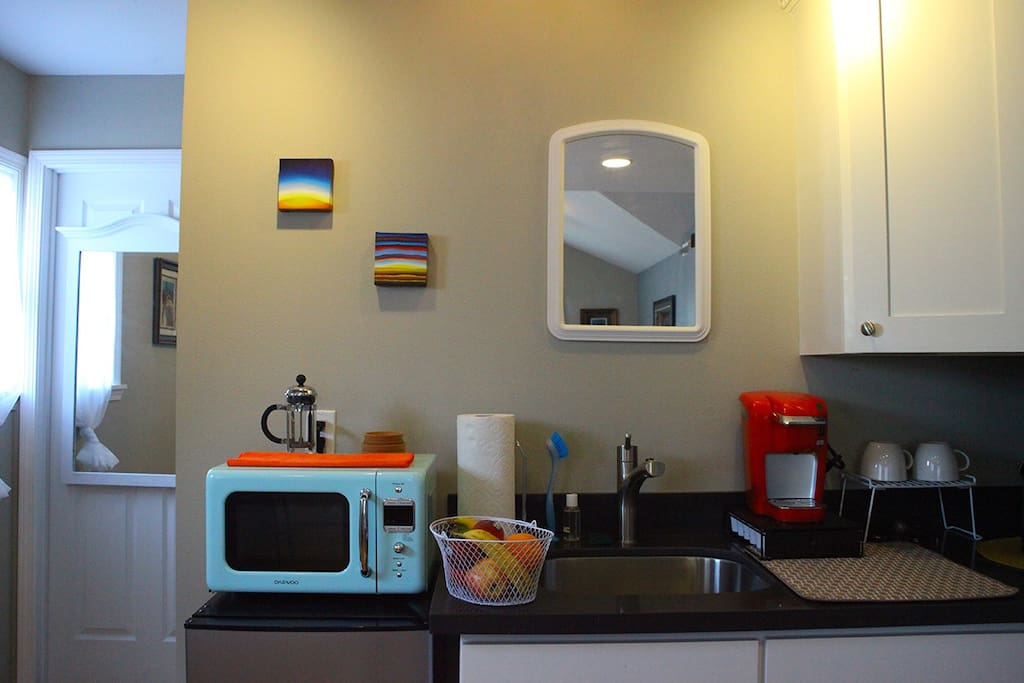 Kitchenette stocked with artisan teas and coffee. Original art will be available for enjoyment and purchase!