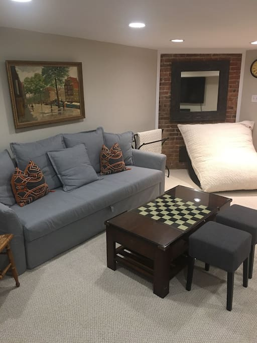 Queen sized pull out couch for additional guests