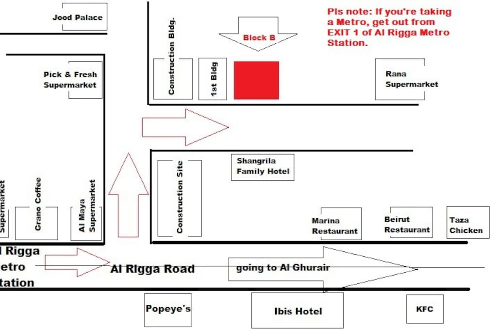 Pls follow the map to get to the place.