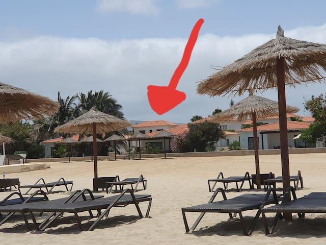 Villa vom Strand aus.... super Strandnähe