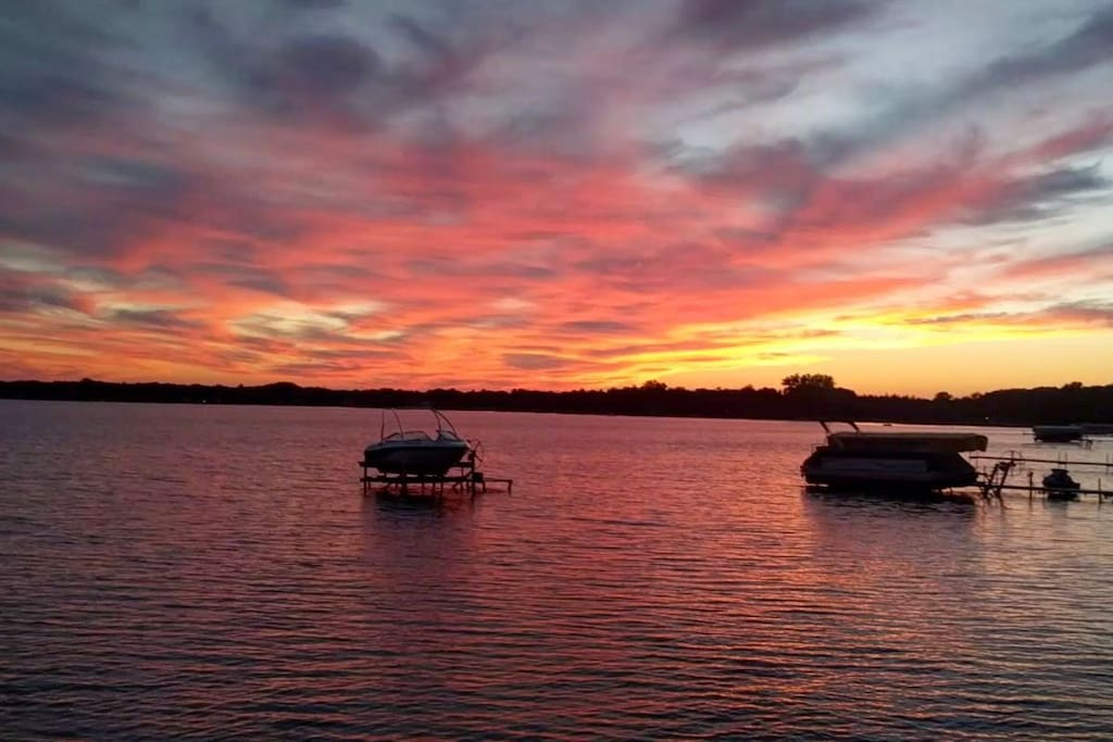 Beautiful sunsets from our frontage on Lake Missaukee! We're planning to purchase a dock this off season for guests to enjoy in 2018.