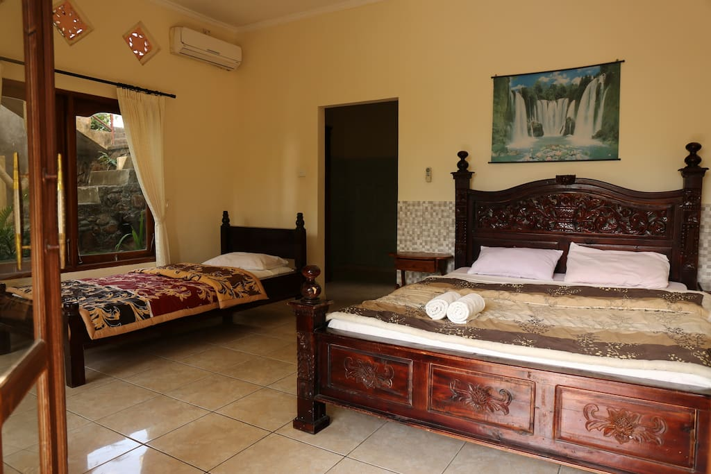 One double bed with single bed