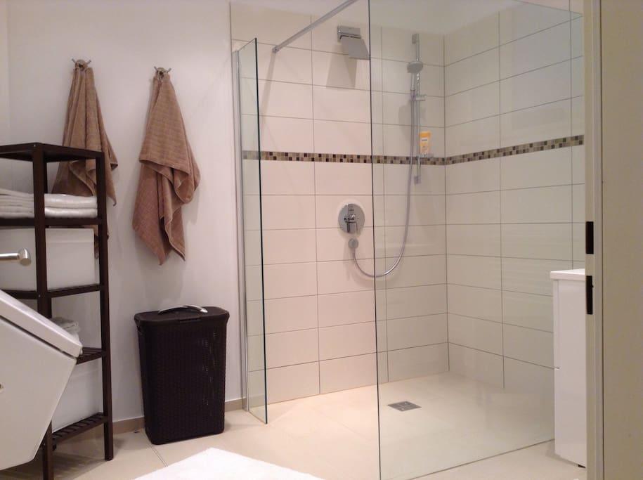 Duschbad mit großer Walk-In Dusche, Fußbodenheizung und Pissoir
