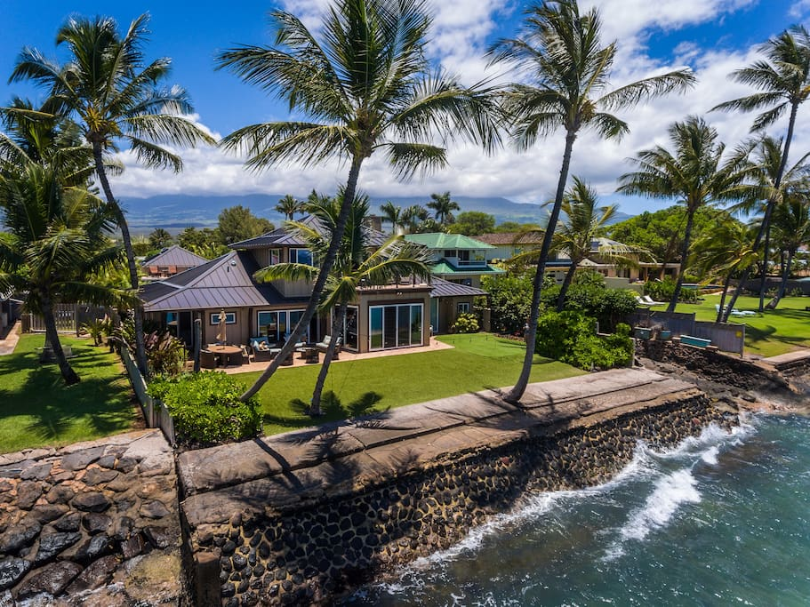 Aerial view of the secluded Villa from the warm waters of the Pacific Ocean.
