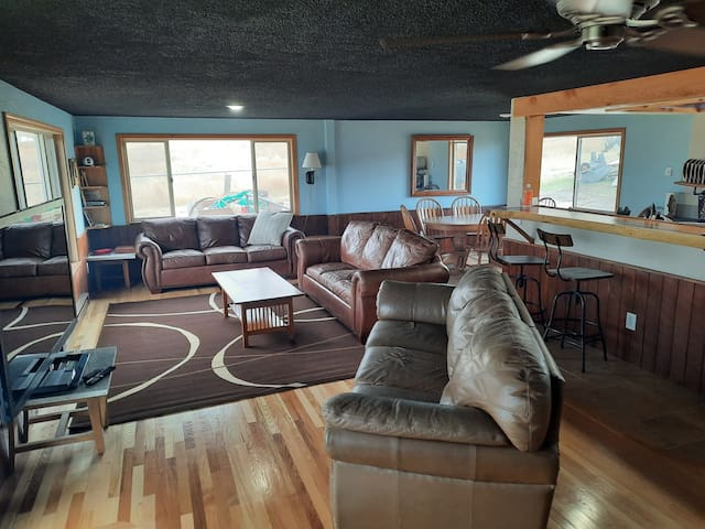 Lots of Lakeview windows from comfortable leather furniture