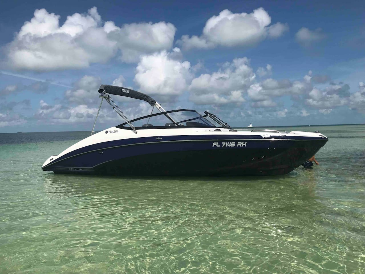 2017 Yamaha Jet boat that is available for rent with the house for $600 three days additional days $100/day. It will be in the back of the house gassed up and in canal ready for your enjoyment whether cruising or fishing fits 10ppl.