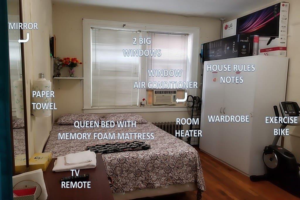 Queen bed, Windows, A/C unit, Heater, Wardrobe etc...
