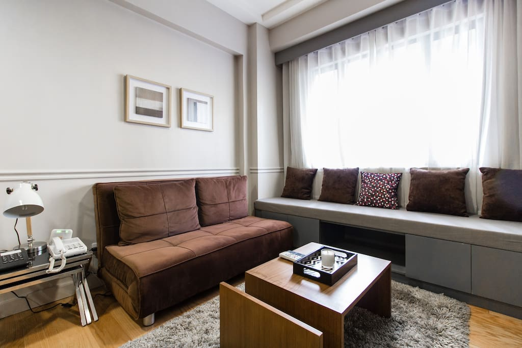 Cozy 1BR apartment.  The apartment has a landline and fast internet