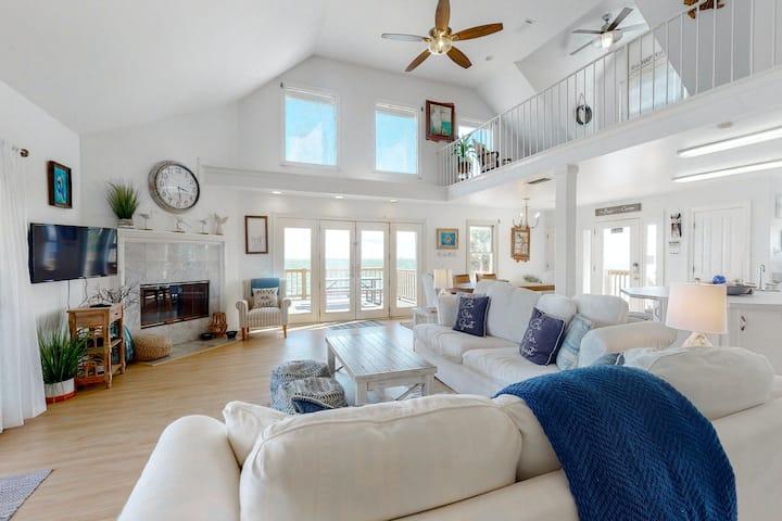 Dog-friendly beach house w/ stunning water views, wrap-around decks & a loft!