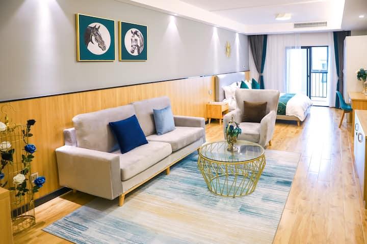 市中心法式浪漫轻奢大床房/独立公寓/万达商圈泰禾商圈