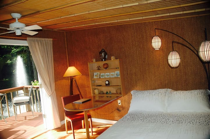 Silky bamboo linens, down pillows and comforter await in the Bamboo Bungalow.