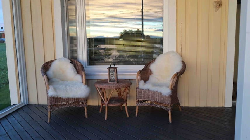 A little balcony by the first bedroom. Nice for morning coffee or cooling off after sauna.