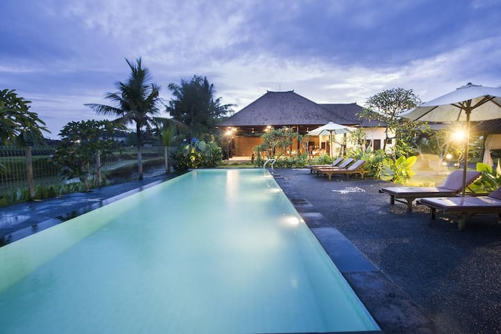 SPECIAL MONTHLY RENT 1 BR Ricefield Villa in Ubud