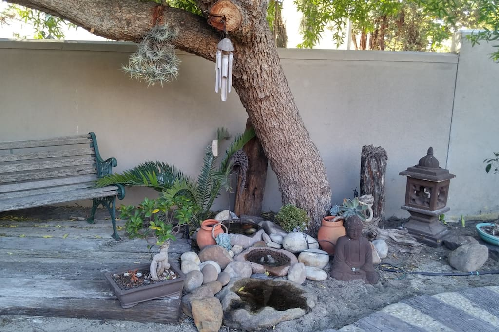 Outdoor rockery and seating area