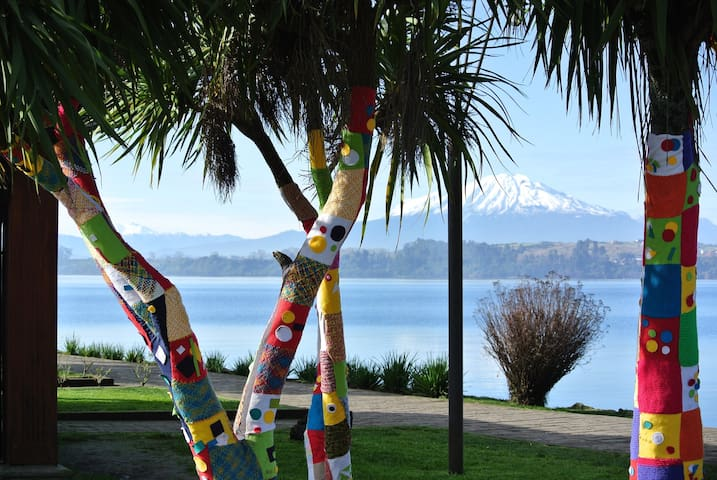 Central Puerto Varas lakeside view on a clear day thru to Argentina