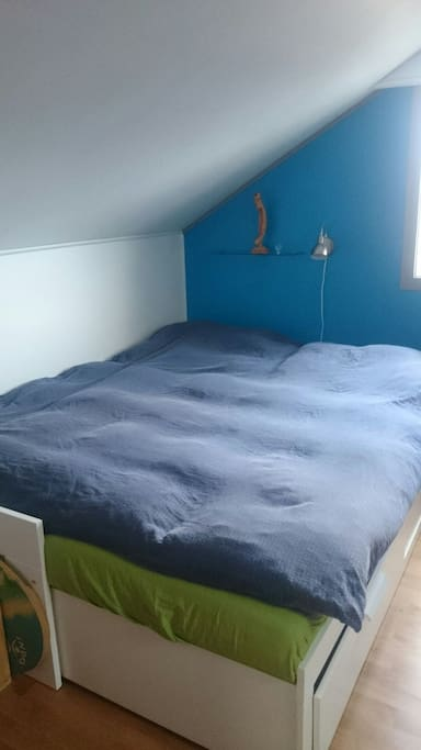 Bedroom in the loft.  Big double bed that can be converted to a sofabed