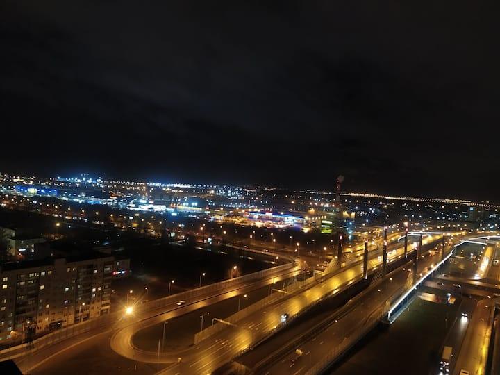 Студия с обалденным видом на город с 20-го этажа