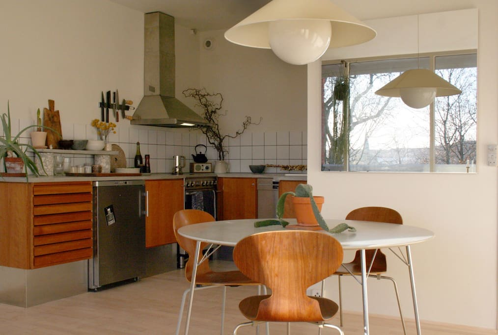 Kitchen with dishwasher, oven, stovetop, sink and fridge. Alessi espresso maker.