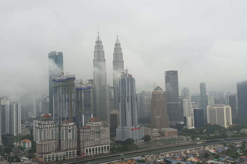 Morning balcony view of kl skyline