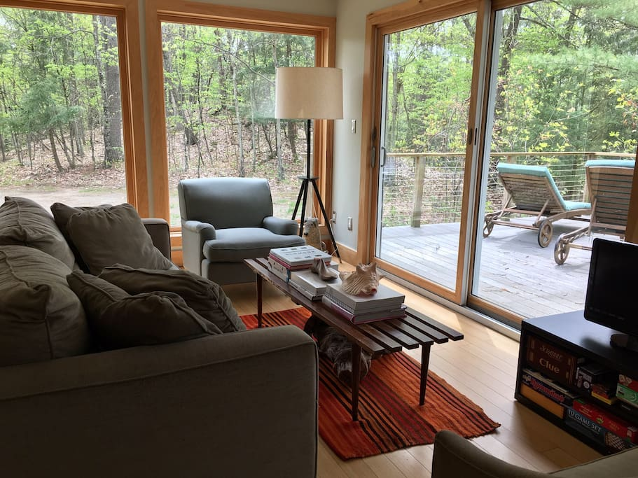 The Sunlit Living Area Facing the Woods