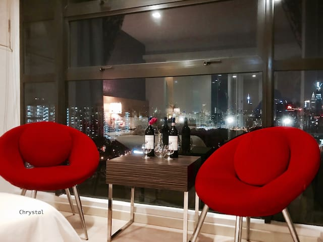 Night relaxing. Sit by the window enjoy stunning KL view with drinks.