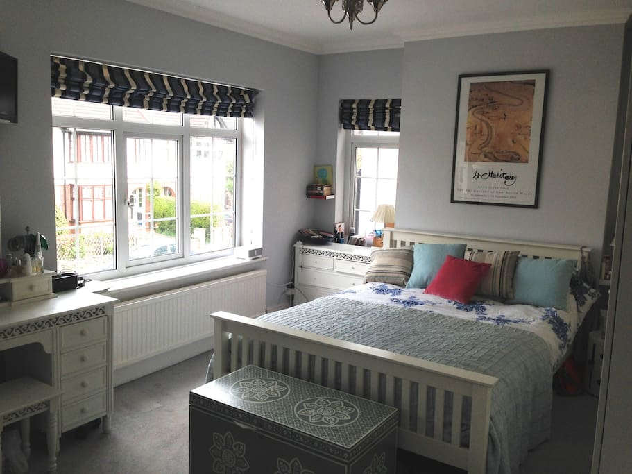 Double bedroom - king size double at the front of the house, 1st floor, with wall to ceiling wardrobes on one side and dressing table