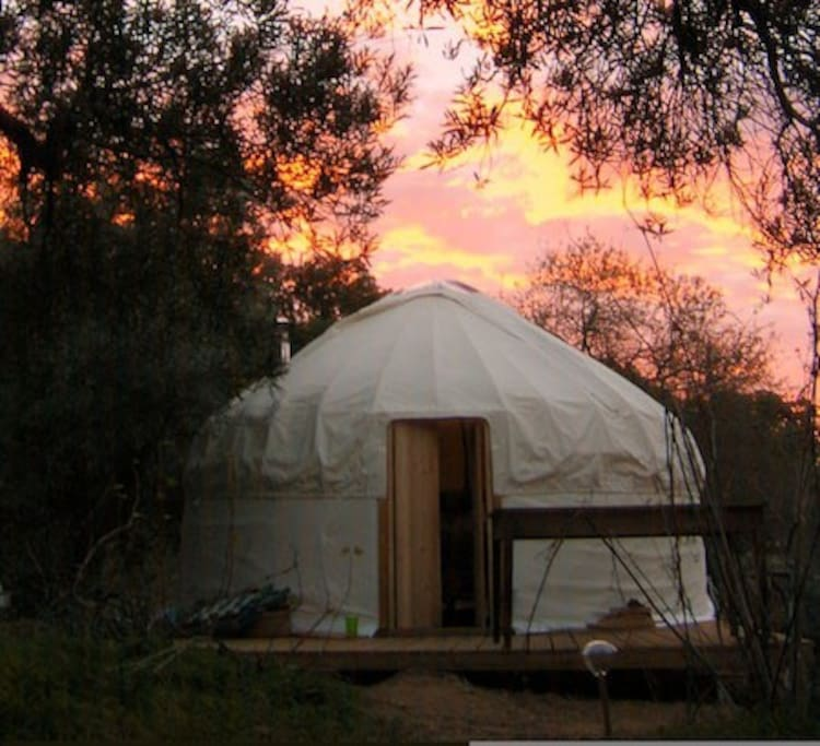 Riverview Yurt at sunset