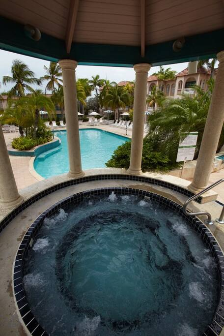 Four person jacuzzi overlooking the front pool..