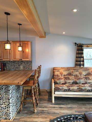 Bar seating in kitchen, total of 4 bar stools & (not pictured) bistro dining table included