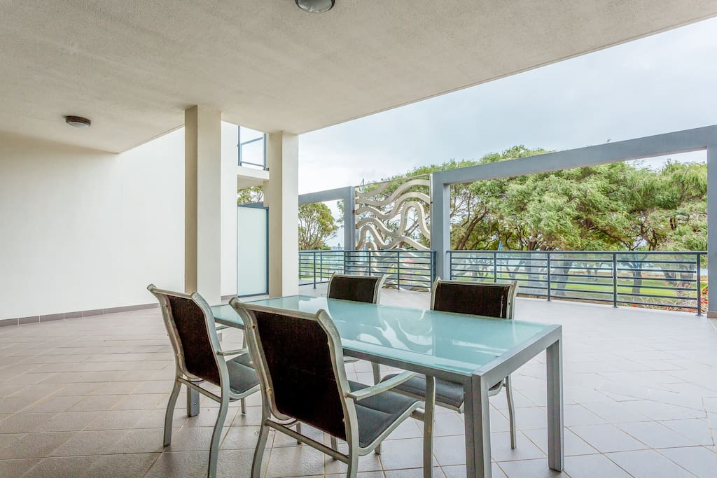 Large private usage outdoor area overlooking leafy green trees of the Rockingham foreshore