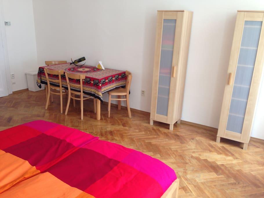 Wardrobe and table